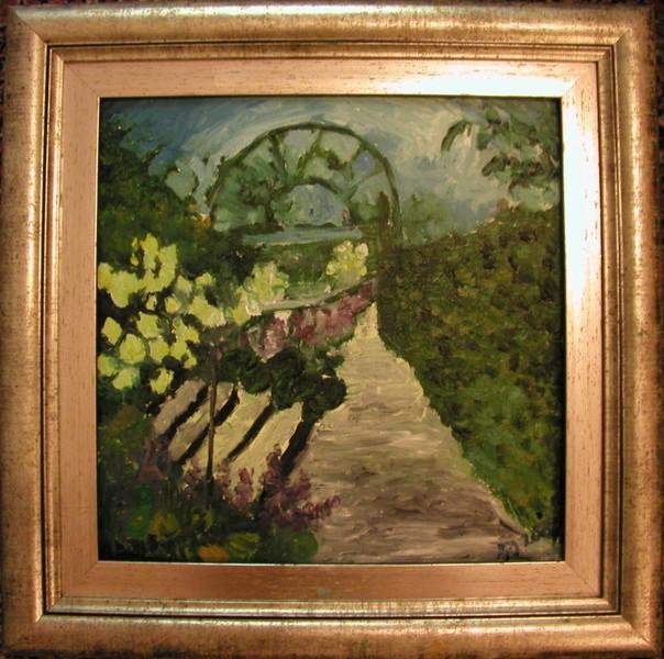 Bild landschaft yvoire lmalerei garten von julia for Jardin des 5 sens yvoire