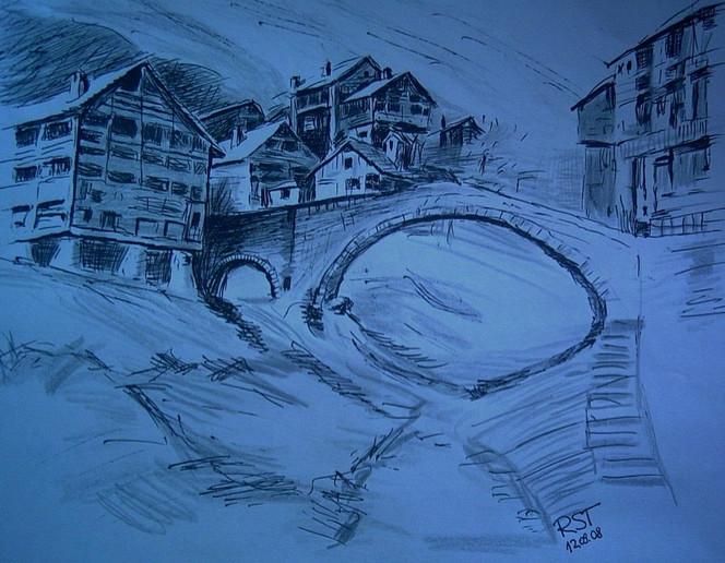 Brücke, Stadt, Haus, Altstadt, Blau, Schwarz weiß