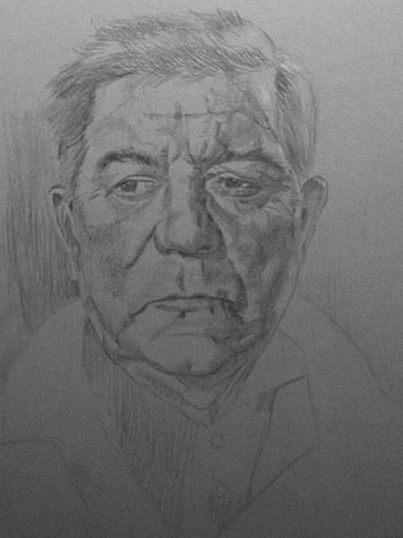 Portrait, Zeichnung, Weißhöhung, Bleistiftzeichnung, Wip,