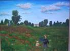 Ölmalerei, Mohnblumen, Landschaft, Feld