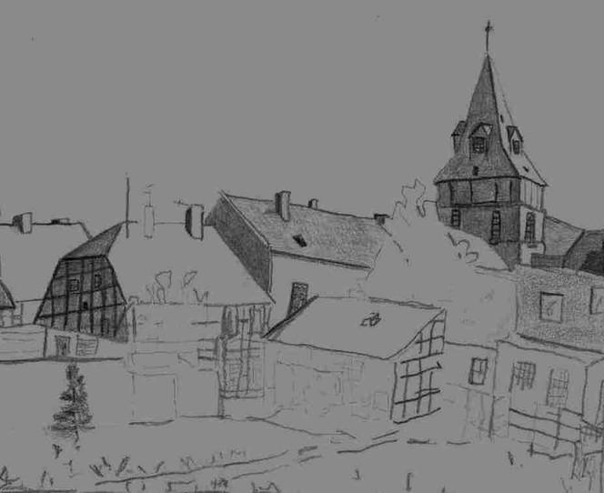 Stadt, Zeichnung, Altstadt, Stadtansicht, Bleistiftzeichnung, Skizze