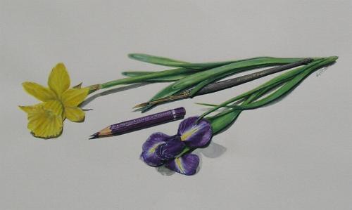 Frühlingsblumen und Pinsel