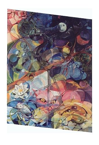 Tiere, Katze, Zeichnung, Pastellmalerei, Neokubismus, Hamburg