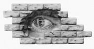 Zeichnung, Mauer, Augen, Bleistiftzeichnung