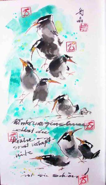 Farben, Krähe, Schnee, Malerei, Chinesisch, Winter