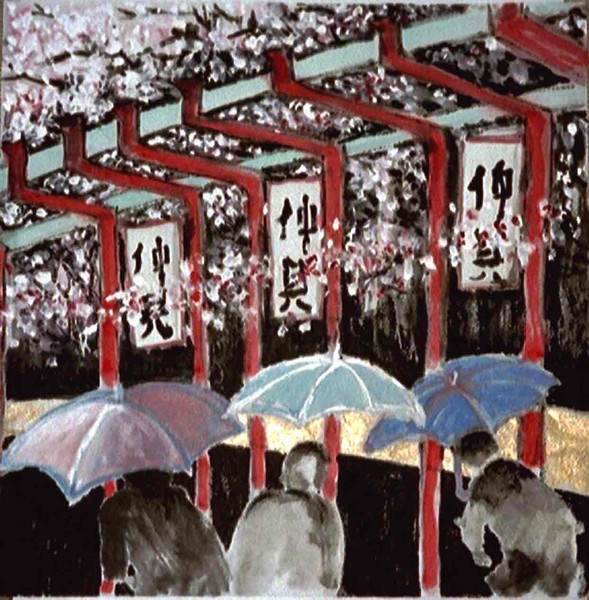 Blüte, Malerei, Pflaumenblüten, Chinesisch, Japan, Tuschmalerei