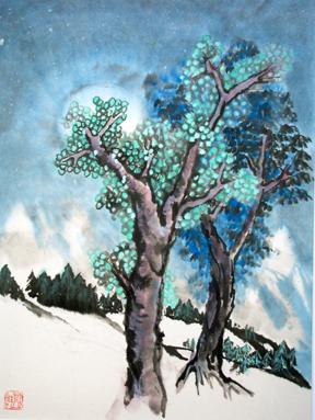 Baum, Tuschmalerei, China, Malerei, Nacht, Chinesisch
