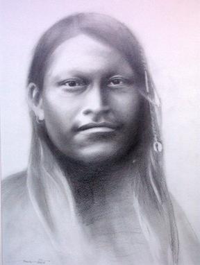 Indianer, Kopf, Grafit, Blick, Zeichnung, Gesicht