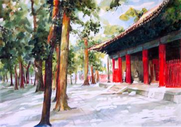 Tempel, Aquarellmalerei, China, Landschaft, Reise, Qufu