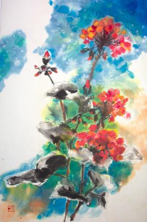 Blumen, Blüte, China, Malerei, Geranie, Zeichnungen