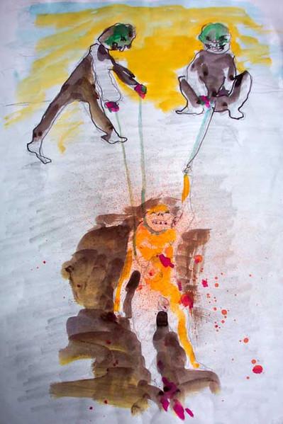 Malerei, Zeichnung, Gewalt, Blut