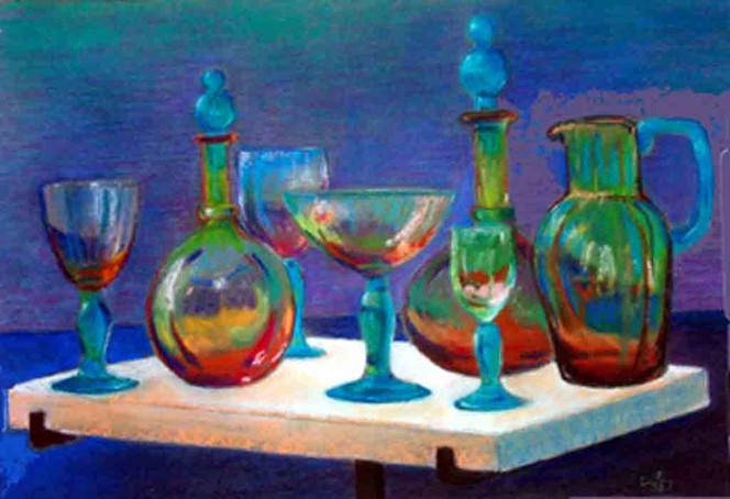 Stillleben, Malerei, Pastellmalerei, Glas
