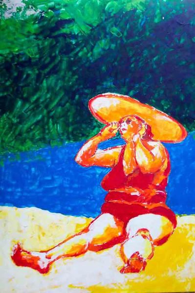 Hitze, Acrylmalerei, Dick, Sonne, Malerei, Strand