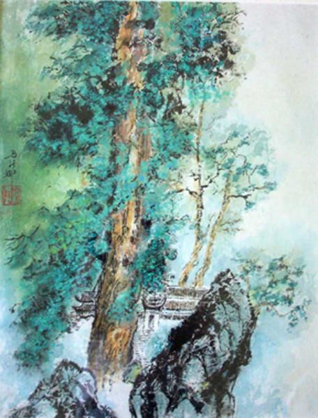 Tuschmalerei, Malerei, Chinesisch, Landschaft, Baum, Natur