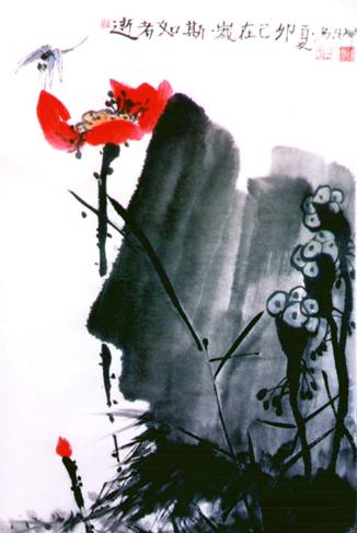China, Felsen, Blumen, Tuschezeichnung, Blüte, Libelle