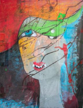 Blind, Portrait, Augen, Kopf, Mischtechnik, Malerei