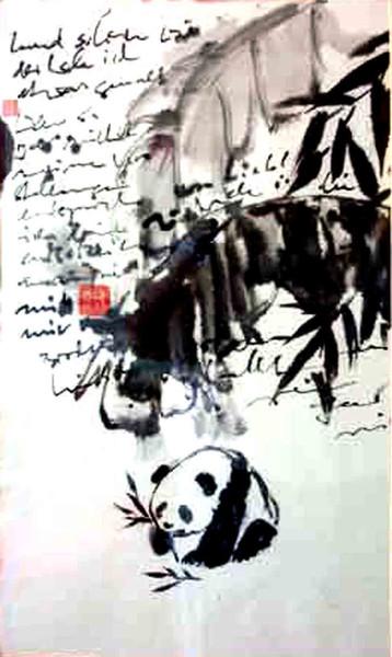 Natur, Landschaft, Panda, China, Schwarz, Tusche