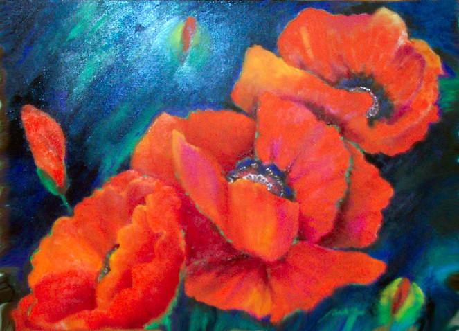 Malerei, Sommer, Mohn, Ölmalerei, Rot
