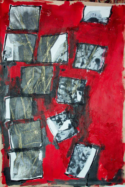 Wut, Mischtechnik, Rot schwarz, Zerstörung, Acrylmalerei, Malerei