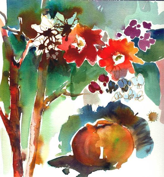 Blumen, Leichtigkeit, Apfel, Aquarellmalerei, Farben, Malerei