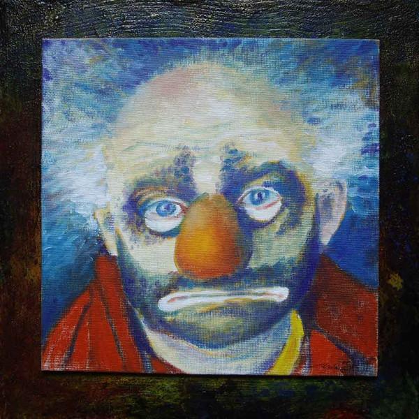 Traurig, Clown, Malerei, Stimmung, Eimer,