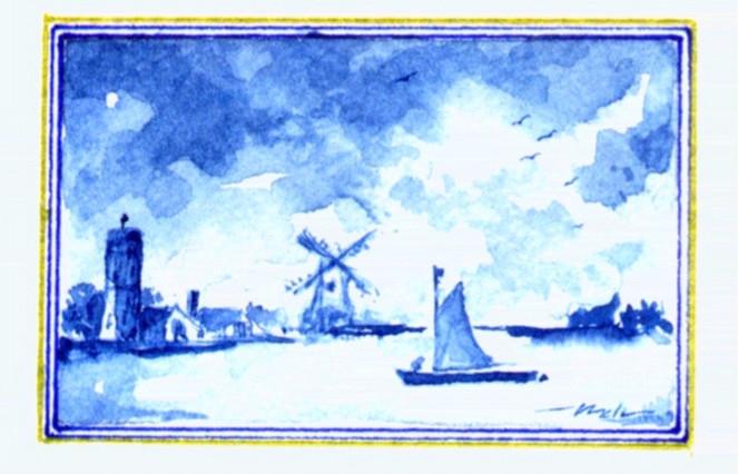 Malerei, Miniatur, Blau, Wasser, Landschaft