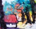 Chinesisch, Baum, Tuschmalerei, Malerei