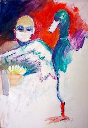 Kopf, Mischtechnikente, Malerei, Grippe, Vogelgrippe, Krankheit