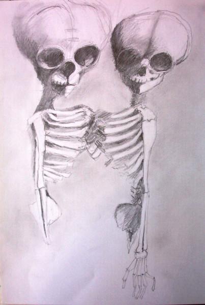 Kopf, Bleistiftzeichnung, Zwillinge, Rippen, Gerippe, Tod