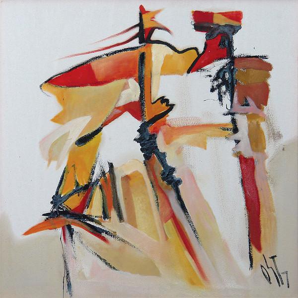Abstrakt, Malerei, Figural, Ölmalerei, Ritter