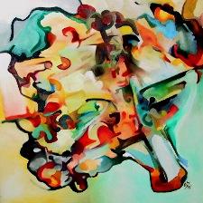 Malerei, Ölmalerei, Abstrakt, Fasching