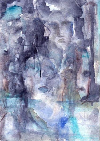 Surreal, Abstrakt, Figural, Aquarell