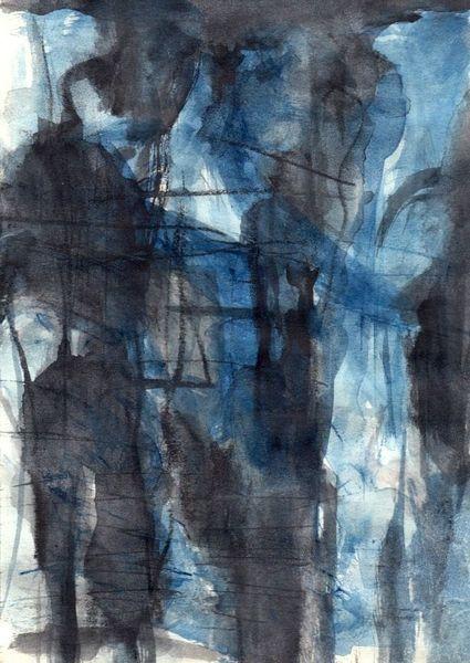 Figural, Blau, Surreal, Abstrakt, Aquarell