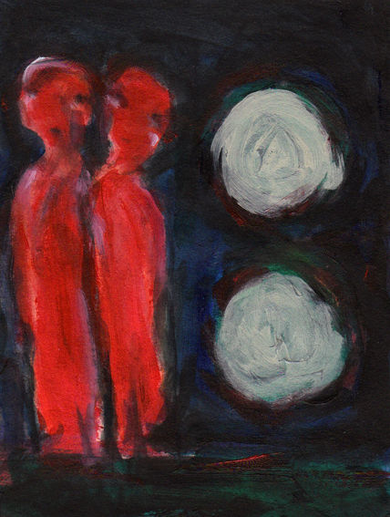 Nacht, Traum, Rot, Wahn, Malerei
