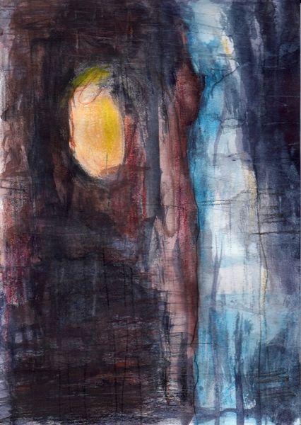 Abstrakt, Figural, Nacht, Surreal, Malerei, Mond