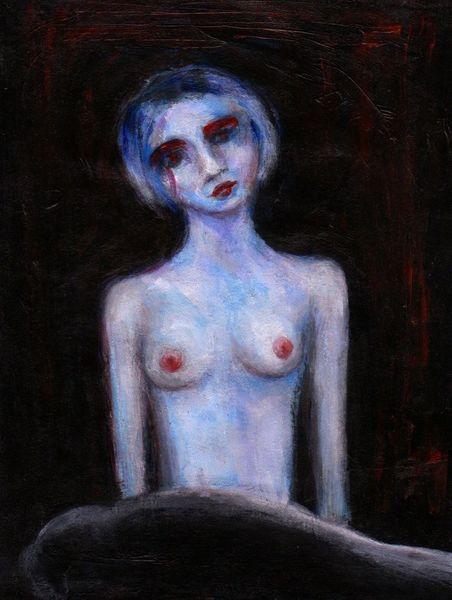 Akt, Blau, Robbe, Malerei, Mädchen