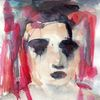 Figural, Rot, Surreal, Aquarell