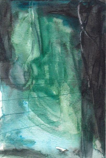 Grün, Surreal, Nacht, Abstrakt, Figural, Aquarell