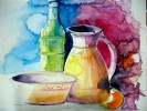 Malerei, Aquarell, Flasche, Vase