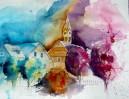 Landschaft, Malerei, Aquarellmalerei, Stadt