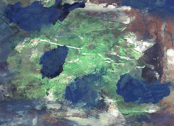 Temperamalerei, Blau, Insel, Gouachemalerei, Grün, Abstrakt