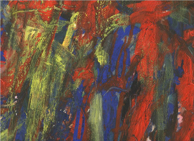 Abstrakt, Dionysos, Gouachemalerei, Mischtechnik, Malerei, Gelb