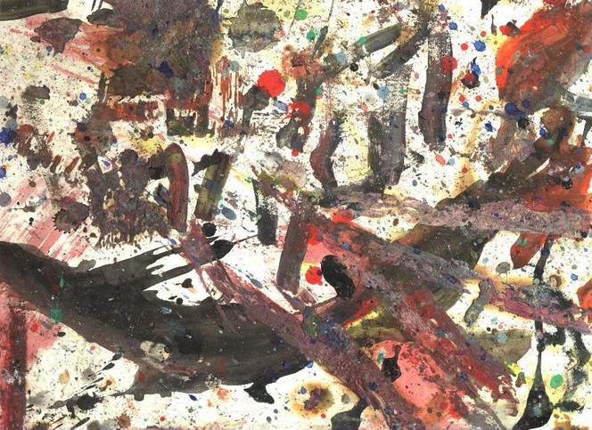 Abstrakt, Leimgrund, Dionysos, Informel, Malerei,