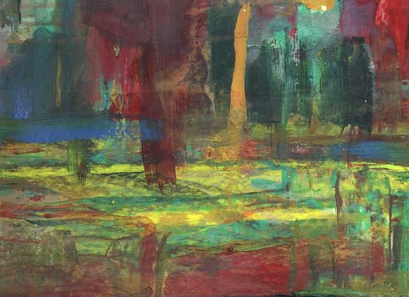 Dionysos, Abstrakt, Gouachemalerei, Sumpf, Landschaft, Malerei