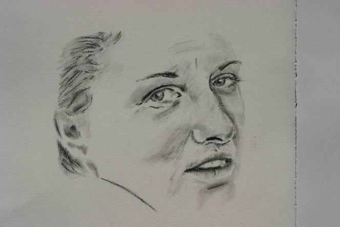Kopf, Portrait, Gesicht, Zeichnung, Frau, Menschen