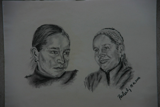 Kohlezeichnung, Kopf, Zeichnung, Menschen, Gesicht, Frau