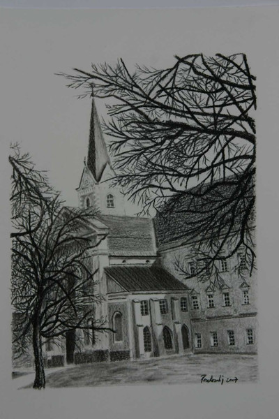 Natur, Zeichnung, Zisterzienser, Schwarz, Kirche, Viktring
