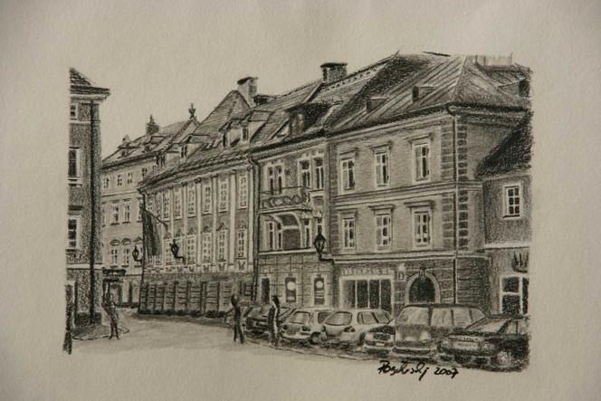 Klagenfurt, Zeichnung, Kohlezeichnung, Häuser, Landschaft, Stadt