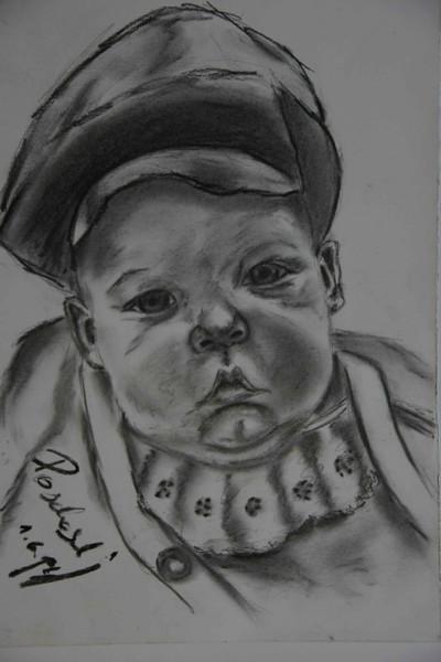 Kohlezeichnung, Portrait, Menschen, Kopf, Zeichnung, Gesicht