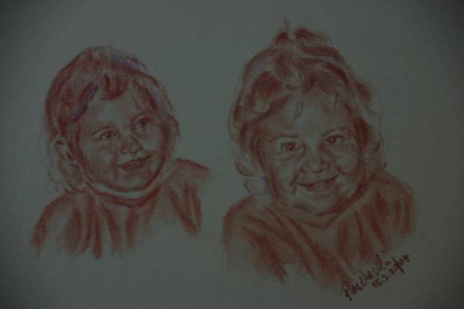 Rötel, Portrait, Mädchen, Kind, Kopf, Menschen